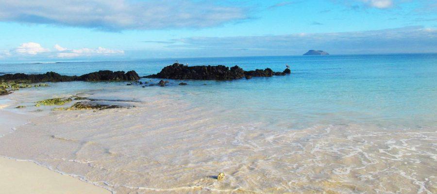 Der wunderschöne Strand von Bachas Beach auf der Galapagos-Insel Santa Cruz