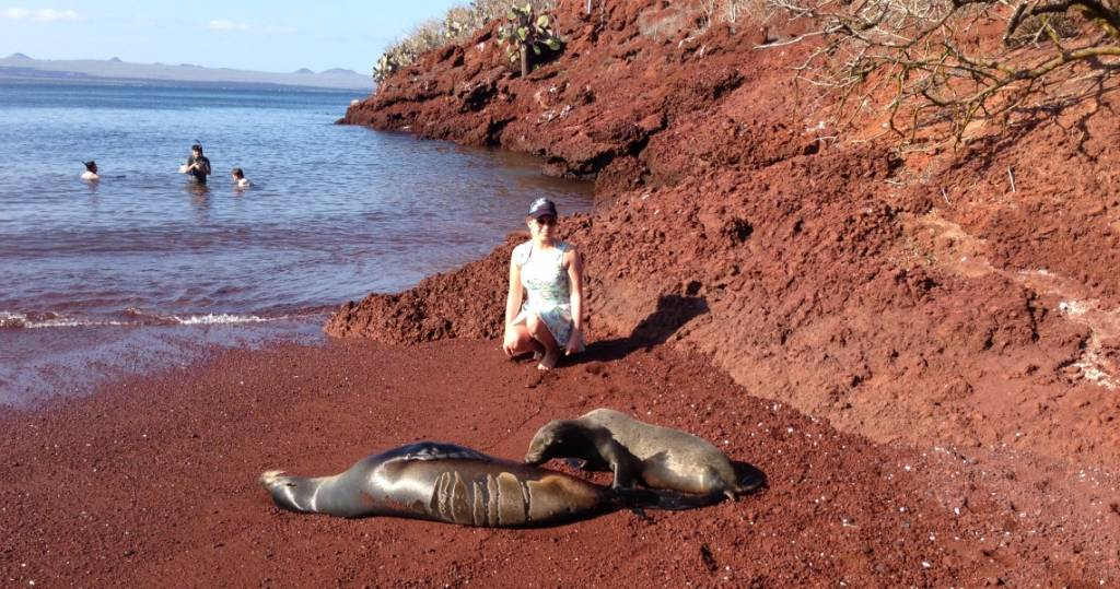 Der charakteristische rote Sandstrand der Galapagos-Insel Rábida