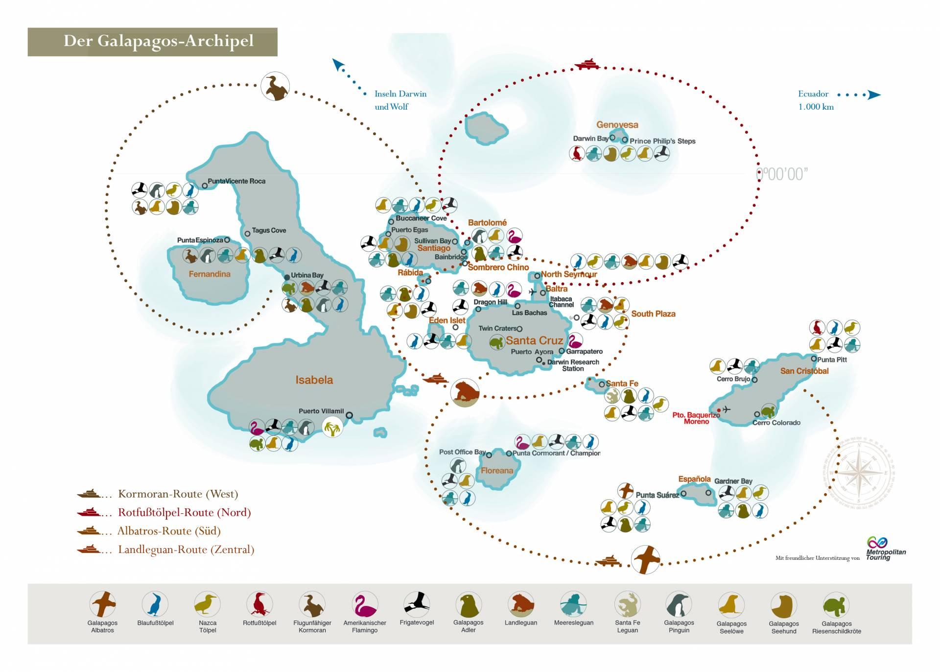 Galapagos-Karte mit Tierlegende und Routen