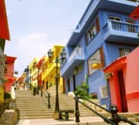 colourful houses in Las Peñas - old city center hill in Guayaquil