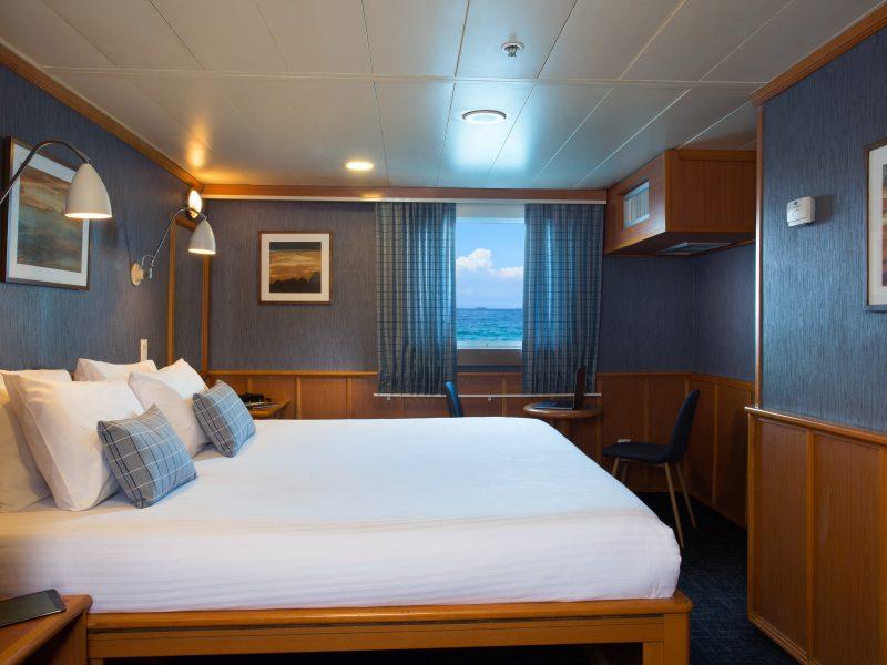 Frische renovierte Master Kabine auf dem Galapagos-Kreuzfahrtschiff Isabela II