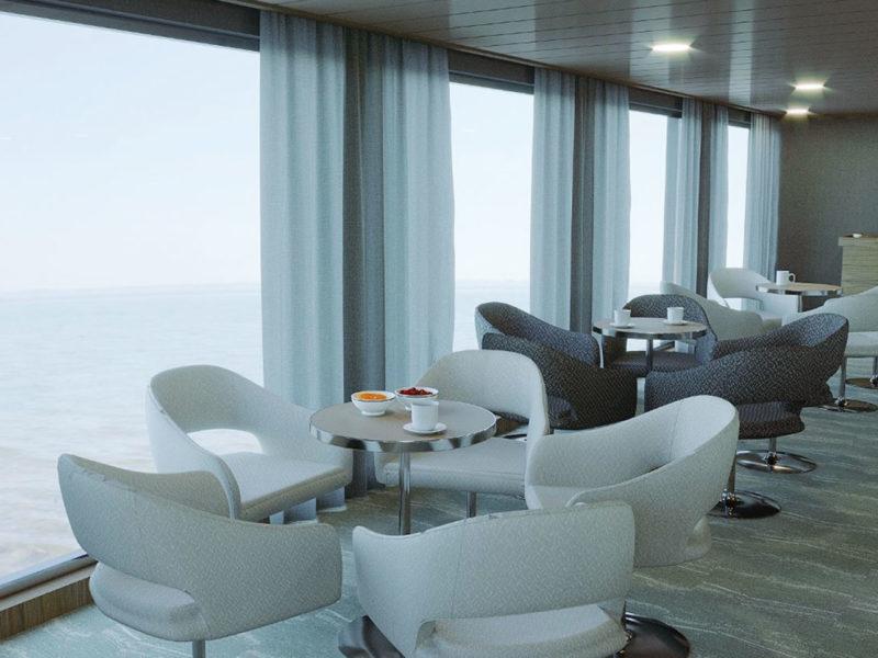 Galapagos cruise La Pinta Coffee Lounge with a view