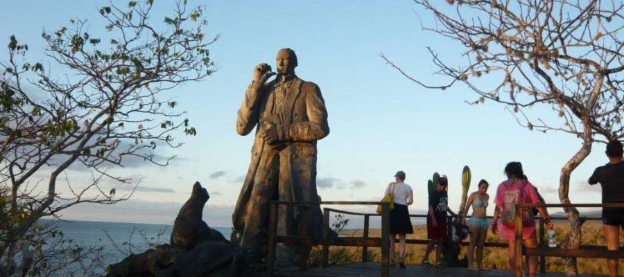 Charles Darwin Statue in San Cristóbal, Galapagos Islands