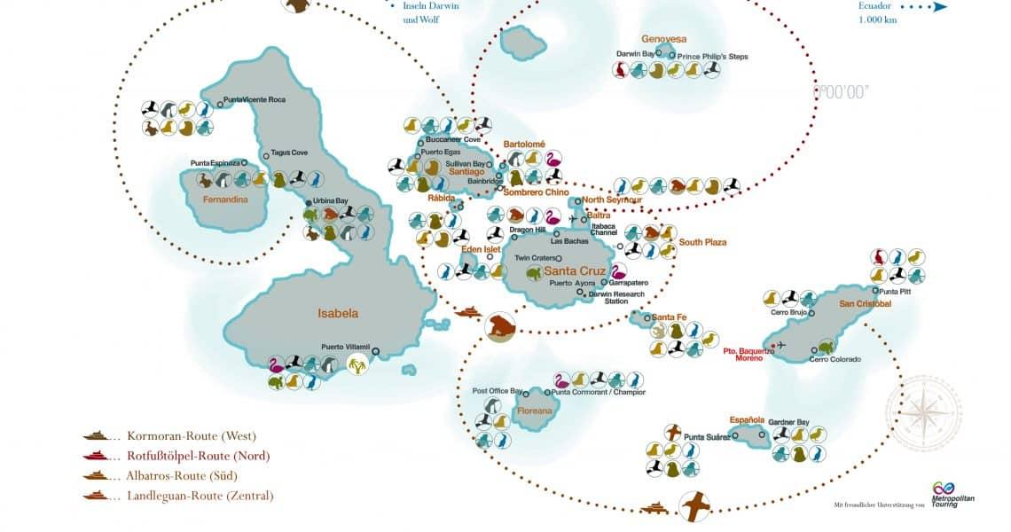 Karte der Galapagos-Inseln mit Tierlegende und Routen