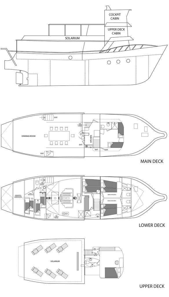 Ansicht der verschiedenen Decks für die Galapagos-Kreuzfahrt Danubio Azul