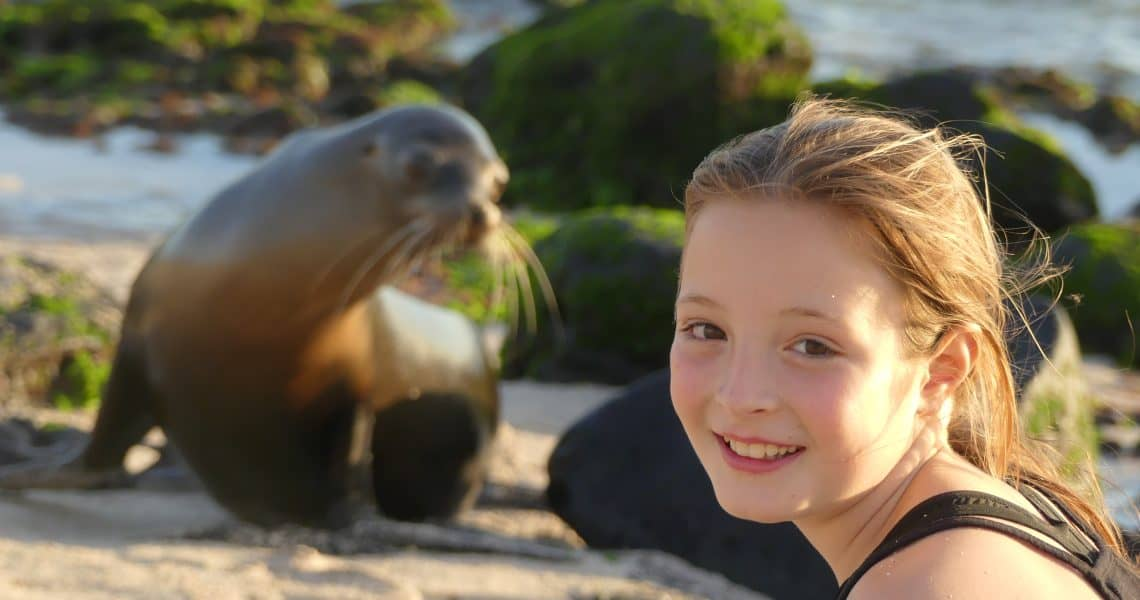 Mit Seelöwen am Strand spielen - Unvergessliche Momente genießen - Eine Reise, die man nie vergisst - Ecuador und Galapagos-Inseln mit Kindern