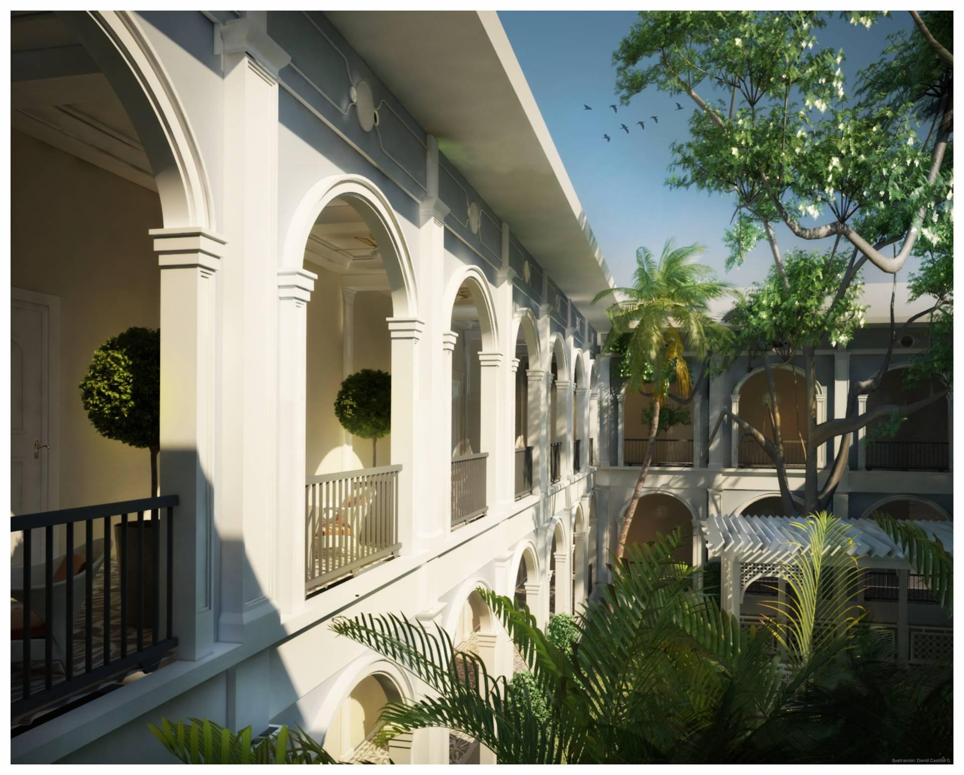 Blick zum Innenhof im Hotel Parque - Ecuador & Galapagos Luxus-Reisen