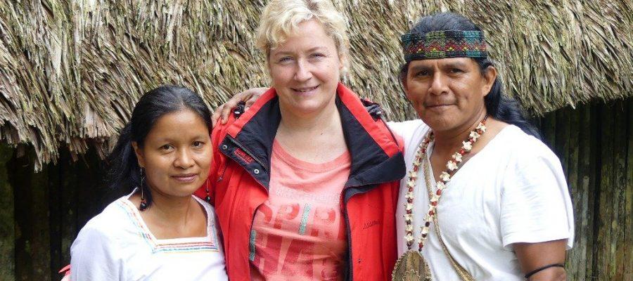 Beate Zwermann with Tzama, the Amazon shaman