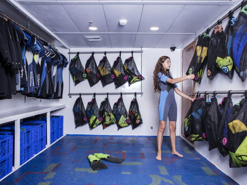 Galapagos-Kreuzfahrt auf der Legend - Das Schnorchelequipment immer parat