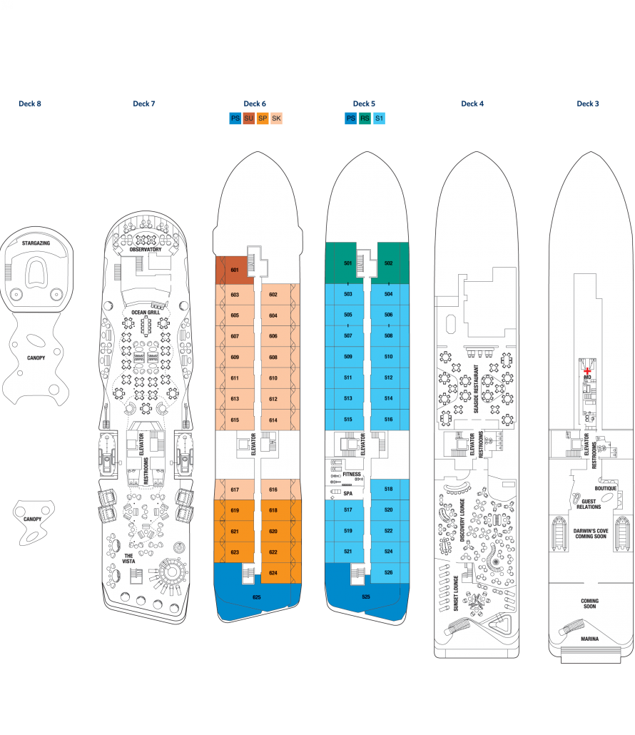 Galapagos-Kreuzfahrt Flora - Deckplan des Schiffes