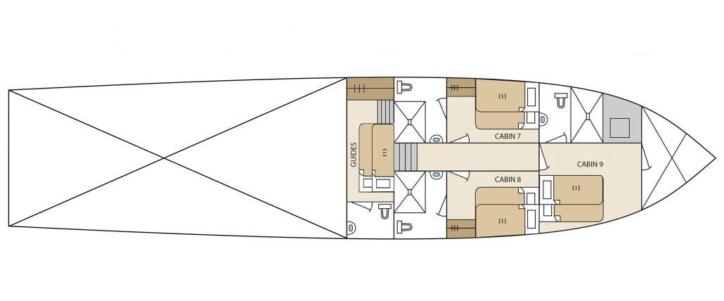 Galapagos-Kreuzfahrt Aqua - Deckplan Unterdeck