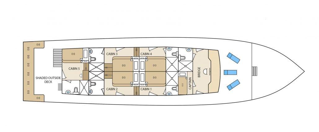 Galapagos-Kreuzfahrt Aqua - Deckplan Oberdeck