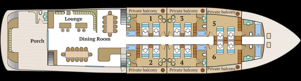 Galapagos-Kreuzfahrt Infinit - Deckplan des Hauptdecks