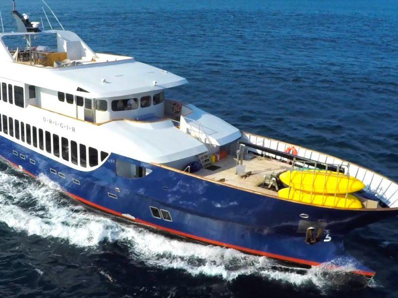 Galapagos-Kreuzfahrt Origin - Vogelperspektive auf die Luxusyacht