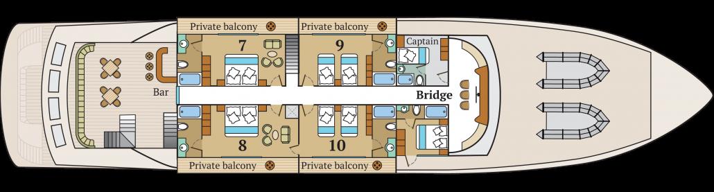 Galapagos-Kreuzfahrt Infinity - Deckplan des Oberdecks