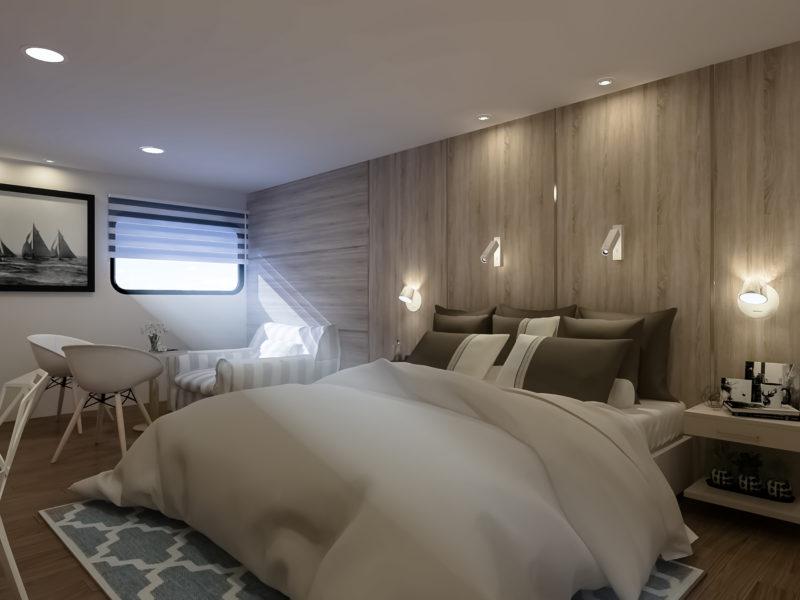 Suite mit Queen Bett auf Galapagos-Kreuzfahrt Solaris