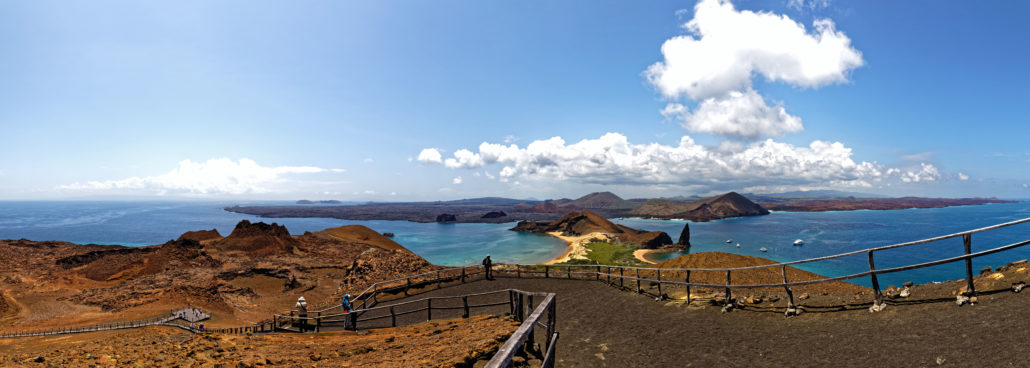 Panoramic landscape of the beautiful Bartolome Island in the Galapagos Islands