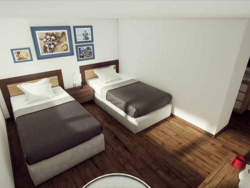 Kabine mit 2 Einzelbetten auf der Tip Top V