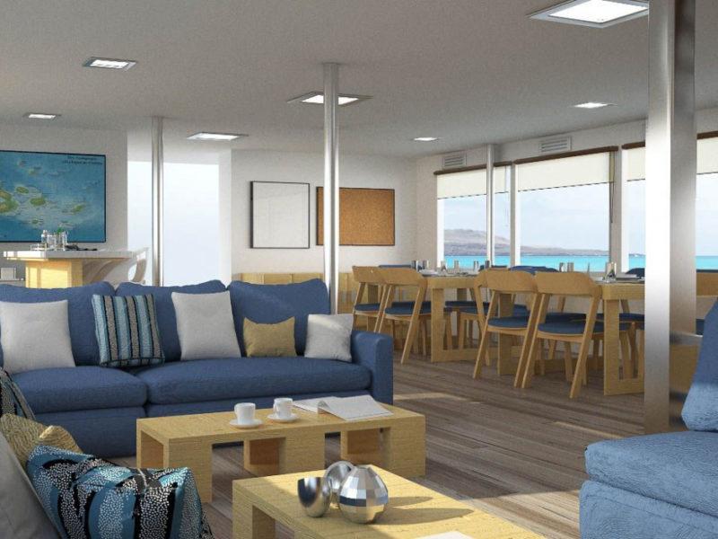 Galapagos-Kreuzfahrt Calipso Lounge bei Galapagos Pro