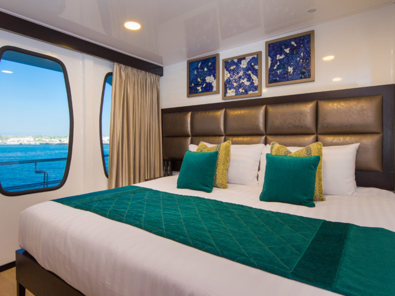 Modern and cosy double cabins available onboard Galapagos Cruise Alya