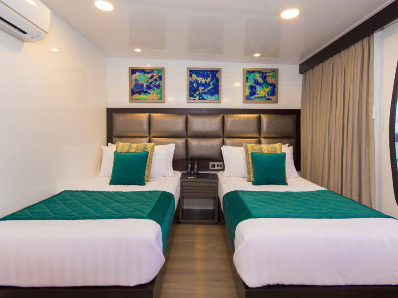 Spacious Twin Cabins are available onboard the Galapagos Cruise Alya