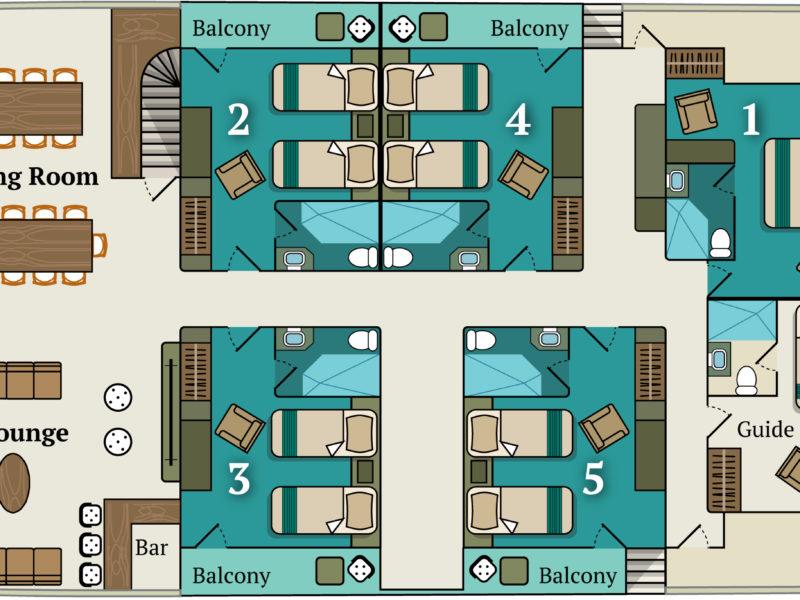 Deckplan des Alya Hauptdecks bei Galapagos Pro